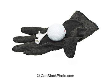 usado, luva golfe, pretas, gasto, pedaço