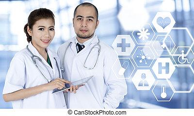 usado, médico, dois, jovem,  taplet, doutores,  interface, futurista