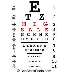 usado, olho, grande, venda, óptico, anunciando, doutores, teste