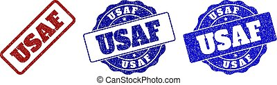 USAF Grunge Stamp Seals - USAF grunge stamp seals in red and...