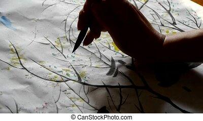 usage, écriture, créer, brosse