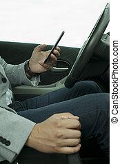 usage, a, téléphone portable, dans voiture