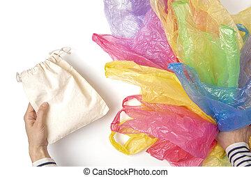 usage, achats femme, ambiant, non, beaucoup, unique, sac plastique, dire, concept, tenue, instead, réutilisable, plastique, bags., pollution