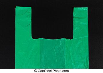 usage, achats, sommet, unique, sac plastique, poignées, vert