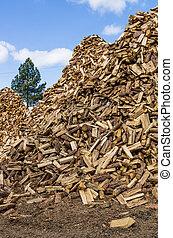 usage, bois brûler, fente, préparé