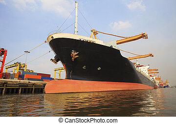 usage, chargement, récipient, image, commercial, expédition, bateau, port