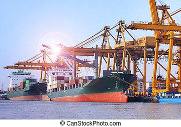 usage, chargement, récipient, industrie, commercial, expédition, port, logistique, nautique, vaisseau, importation, bateau, image, transport