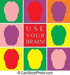 usage, coloré, cerveau, vecteur, ton, icône