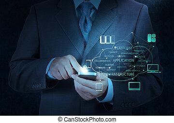 usage, concept, main, téléphone, informatique, homme affaires, email, intelligent, icône