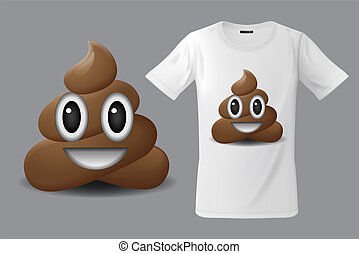 usage, emoji, illustration., figure, sweatshirts, moderne, souvenirs, t-shirt, vecteur, conception, impression, usages, sourire, emoticon, autre, merde