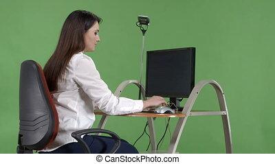 usage, employé bureau, ordinateur bureau, critique, message erreur, essayer