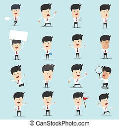 usage, ensemble, beaucoup, caractère, graphisme, homme affaires, présentation, dessin animé