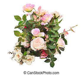 usage, f, bouquet, isolé, artificiel, roses, fond, fleurs blanches
