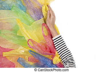 usage, femme, bags., non, plastique, unique, concept, ambiant, refuses, main, plastique, pollution