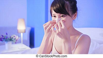 usage, femme, masque, nez