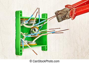 usage, fin, pinces, work., électrique