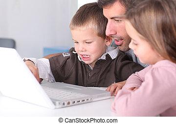 usage, gosses, ordinateur portable, comment, informatique, enseignement, homme