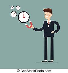 usage, illustration., obtenir, attracts, aimant, time., vecteur, besoin, homme affaires, dessin animé, plus