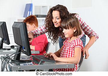 usage, informatique, enfants, apprentissage, prof