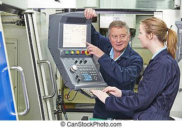usage, informatisé, projection, machine, comment, découpage, apprenti, ingénieur