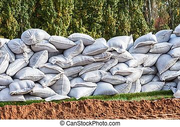 usage, inondation, défense, sacs sable, militaire, ou