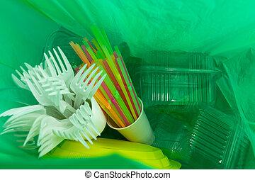 usage, intérieur, coutellerie, sac plastique, unique, vert, paquets