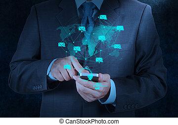 usage, main, téléphone, informatique, homme affaires, email, intelligent, icône