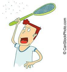 usage, mosquitos, tuer, raquette, électrique, homme