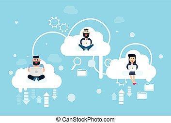 usage, nuages, business, séance, technologie, ordinateur portable, gens, informatique, ligne, internet, groupe, données, nuage
