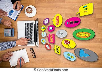 usage, partage, gens, média, connecter, relier, social