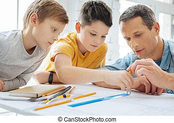 usage, projection, père, fils, agréable, comment, correctement, compas