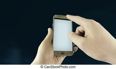 usage, s'imaginer, mobile, commercialisation, concept., appareils, contenu, arrière-plan., noir, plan