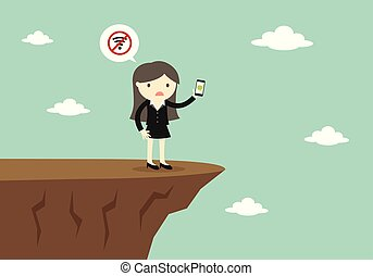 usage, smartphone, business, non, signal., mais, femme, essayer