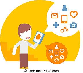 usage, smartphone, commandes, sien, voix, homme