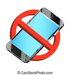 usage, smartphone, prohibition, signe, vecteur, pas