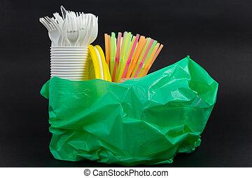 usage, unique, sac plastique, pailles, coutellerie, plaques, gaspillage