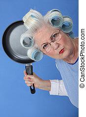 usage, vieux, fâché, menacer, friture, dame, moule