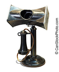 usage, vieux téléphone, areas., bruyant