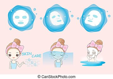usages, girl, masque, dessin animé