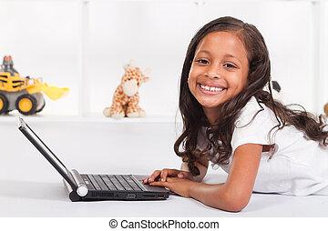 usando, americano, laptop, menina, africano