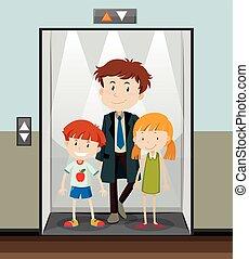 usando, andare, ascensore, persone