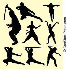 usando, arte, silueta, espada, marcial