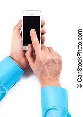usando, bianco, smartphone, uomo affari, mani