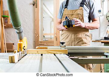 usando, carpenteria, sega, elettrico, carpentiere