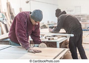 usando, carpinteiro, sander, elétrico
