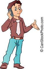 usando, cellphone, ilustração, homem