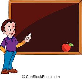 usando, chalkboard, ilustração, homem
