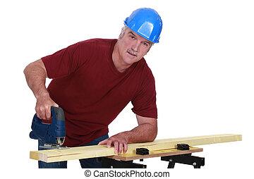 usando, cinzento-haired, serra, carpinteiro, elétrico