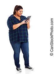 usando computador, excesso de peso, estudante, tabuleta