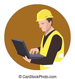 usando computador portátil, construção, engenheiro